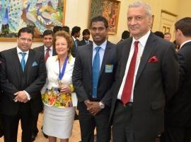 H.E. Dr.Chris Nonis, Mayor Francis Stainton, Angelo Matthews, H.E. Kamalesh Sharma, Commonwealth Secretary-General